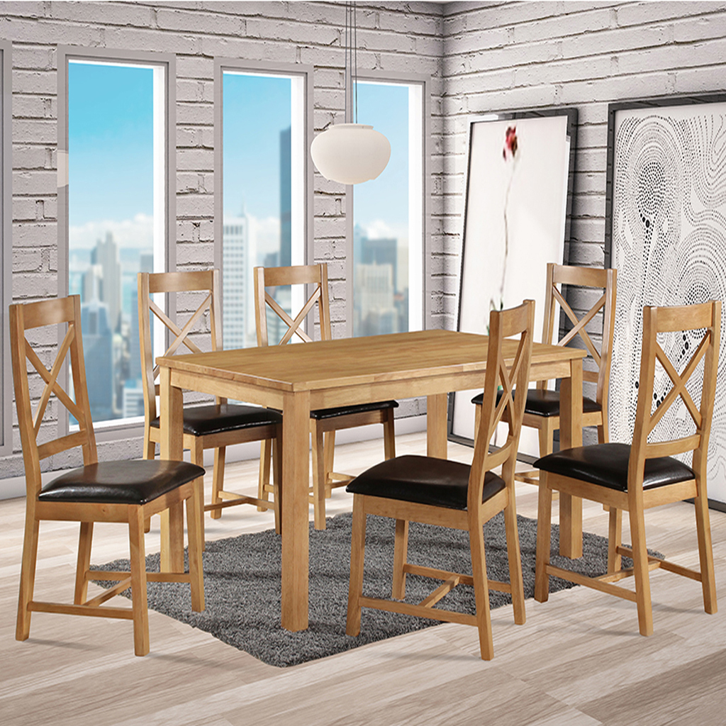 Oregon natural oak dining set with brown pu chairs