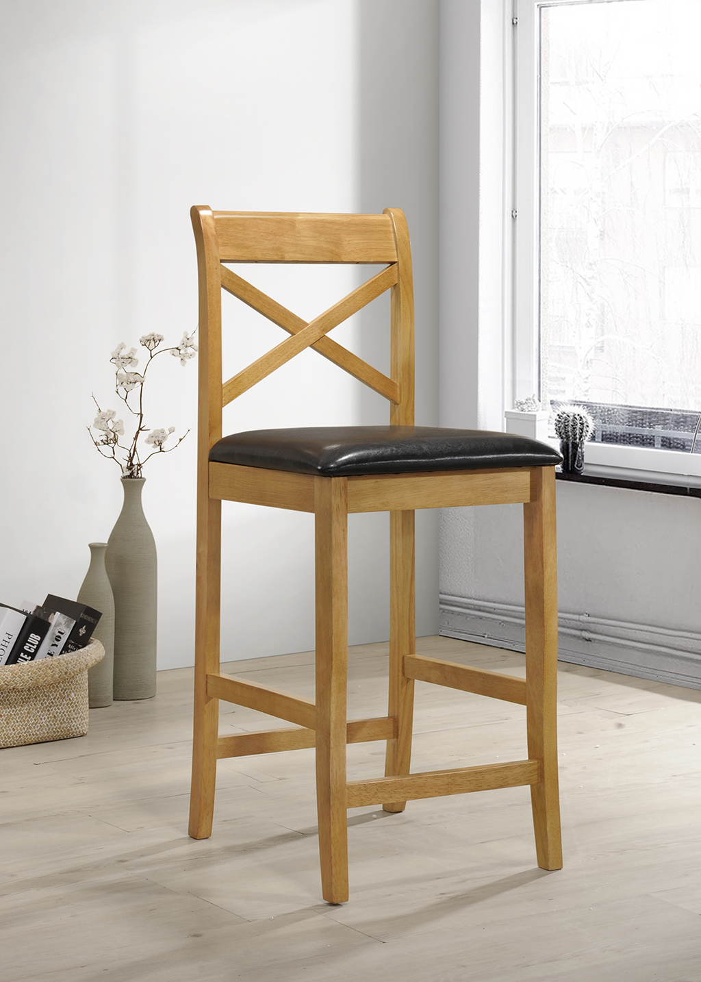 Clermont Columbia Oak With Pu Seat Bar Stool Hj Furniture